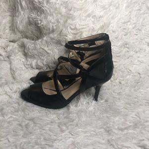 Nine West Peep toe black zip up heels